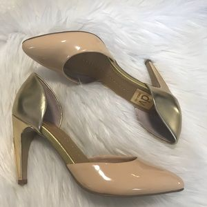 Dolce Vita Gold and Nude Heels